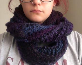 Purple/Blue Knit Infinity Scarf
