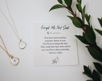 Gift for Loss. Gift for someone who passed away. Sympathy Gift. Condolence gift. Bereavement gift. Forget me not necklace. Loss gifts.