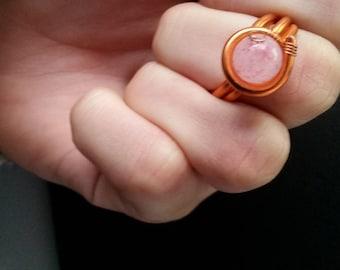 Rose Quartz Copper Coloured Ring