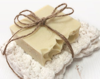 Cocoa butter SOAP set and cotton Washcloths