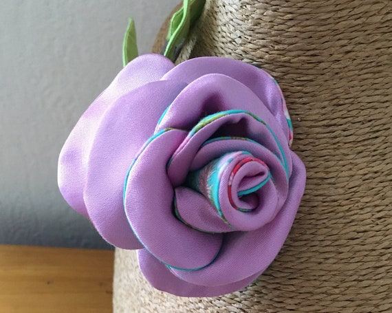 Flower brooch textile jewel inspired by pink fashion accessory for women
