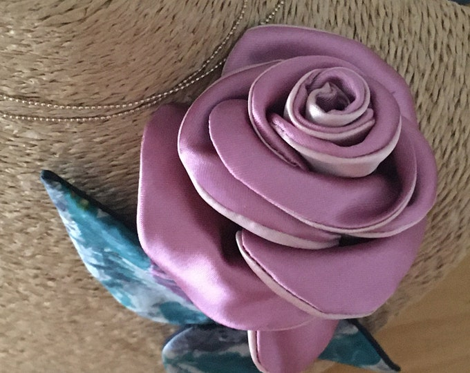 Pink floral jewelry brooch textile design fashion accessory long flower wedding with stem and pink satin leaf and parma