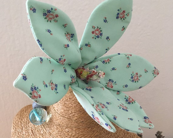 Flower brooch textile jewelry inspired by magnolia fashion accessory for women