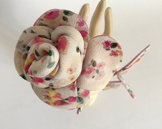 Rose-inspired textile floral brooch