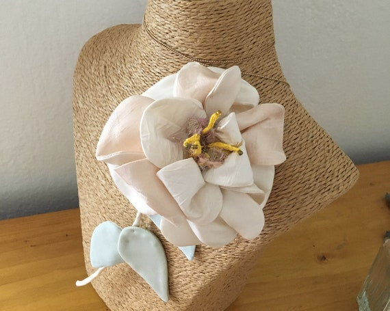 Jewelry textile brooch flower inspired by pink fashion accessory