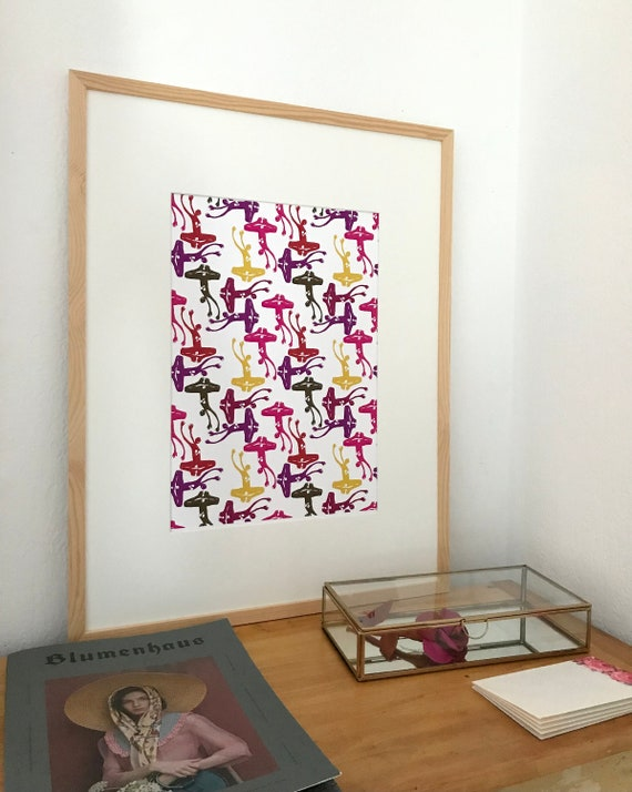 Drawing patterns of colorful women Art print