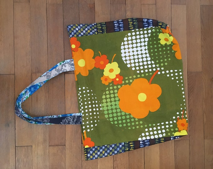 Large fabric bag large pockets shopping vintage fabric accessory fashion floral pattern and African fabric all cotton orange green and blue