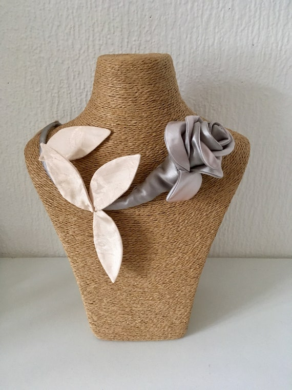 Floral brooch textile jewelry inspired by rose wedding accessory for women
