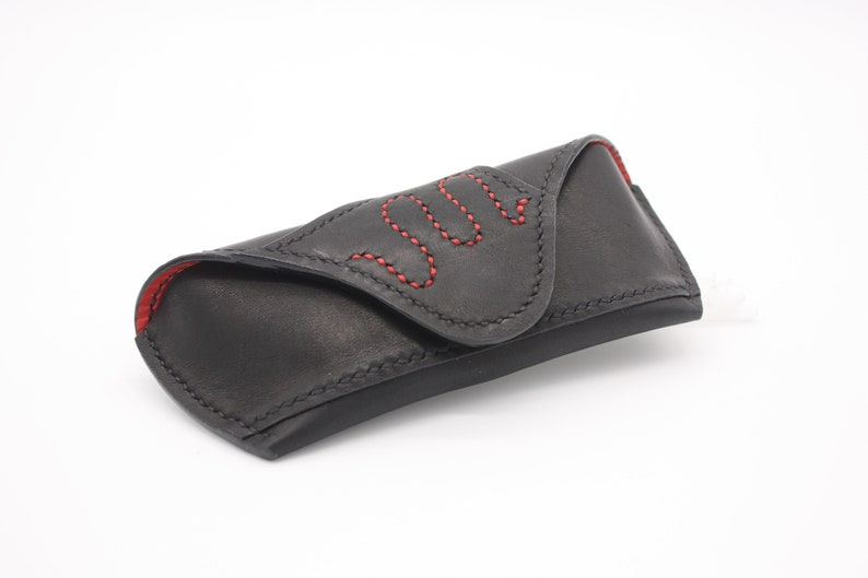 Real Leather Black&Red Basic Glasses Case, Handmade Unique Glasses Etui, Beautiful Gift, Luxury Product, Great Addition, Sunglasses