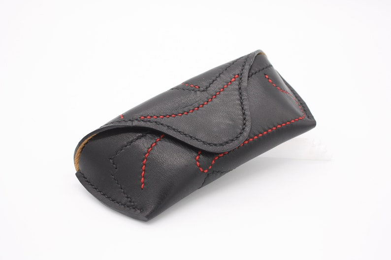 Real Leather Black&Red Embroidery Basic Glasses Case, Handmade Unique Glasses Etui Beautiful Gift Luxury Product, Great Addition, Sunglasses