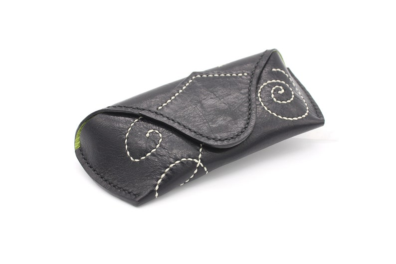 Real Leather Black with White Spirals Basic Glasses Case, Handmade Unique Etui, Beautiful Gift, Luxury Product, Great Addition, Sunglasses