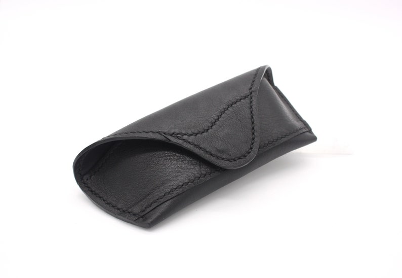 Real Leather Black&Balack Basic Glasses Case, Handmade Unique Glasses Etui, Beautiful Gift, Luxury Product, Great Addition, Sunglasses