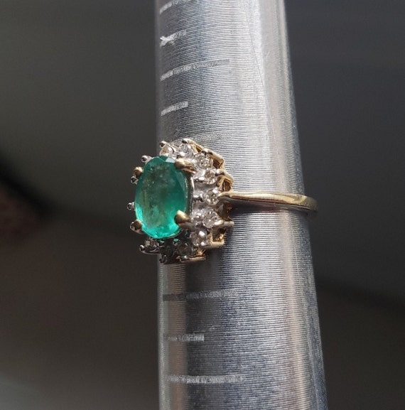 Oval Emerald Engagement Ring / Natural Emerald Ri… - image 8