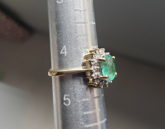 Oval Emerald Engagement Ring / Natural Emerald Ri… - image 7