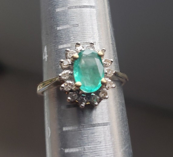 Oval Emerald Engagement Ring / Natural Emerald Ri… - image 3