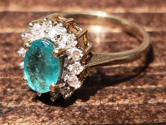 Oval Emerald Engagement Ring / Natural Emerald Ri… - image 2