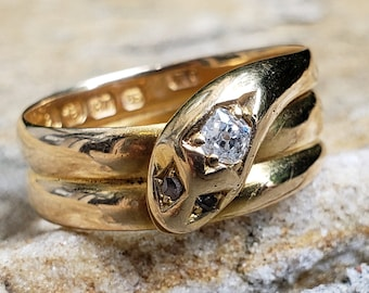Victorian Snake Ring with Old Mine Cut / Circa 1879 Victorian Ring / Ouroboros Ring / Victorian Engagement Ring