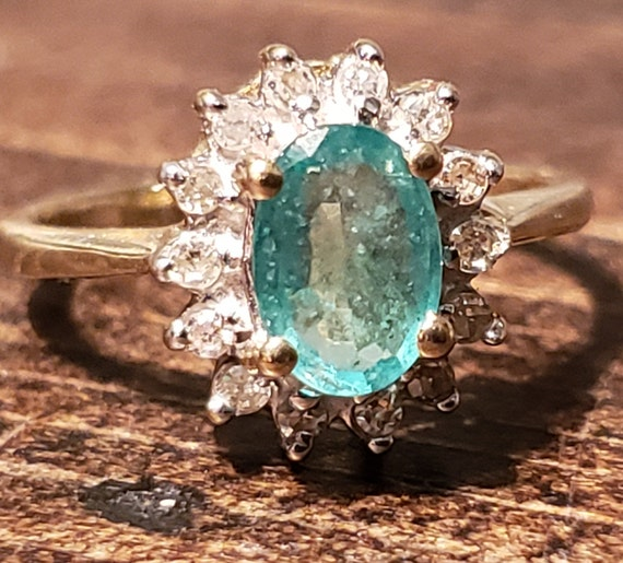 Oval Emerald Engagement Ring / Natural Emerald Ri… - image 4