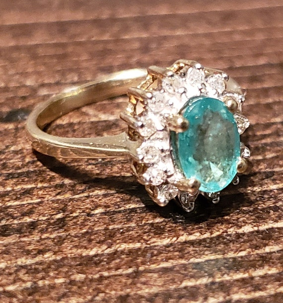 Oval Emerald Engagement Ring / Natural Emerald Ri… - image 9