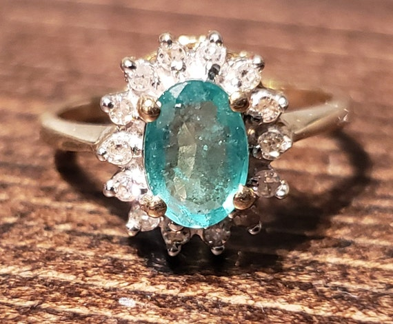 Oval Emerald Engagement Ring / Natural Emerald Ri… - image 1