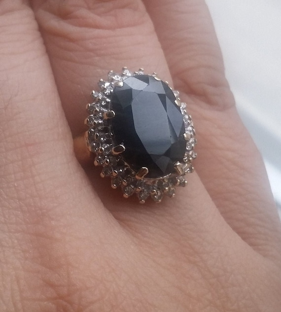 Sapphire and Diamond Engagement Ring/ Princess Dia