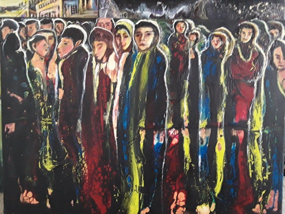 Image result for modern painting of people waiting