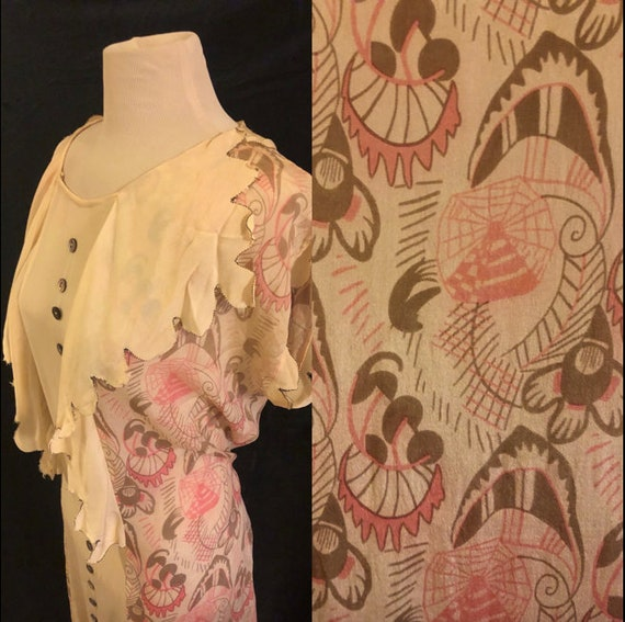 RARE 1920's Pink Novelty Spider Web Print Day Dres