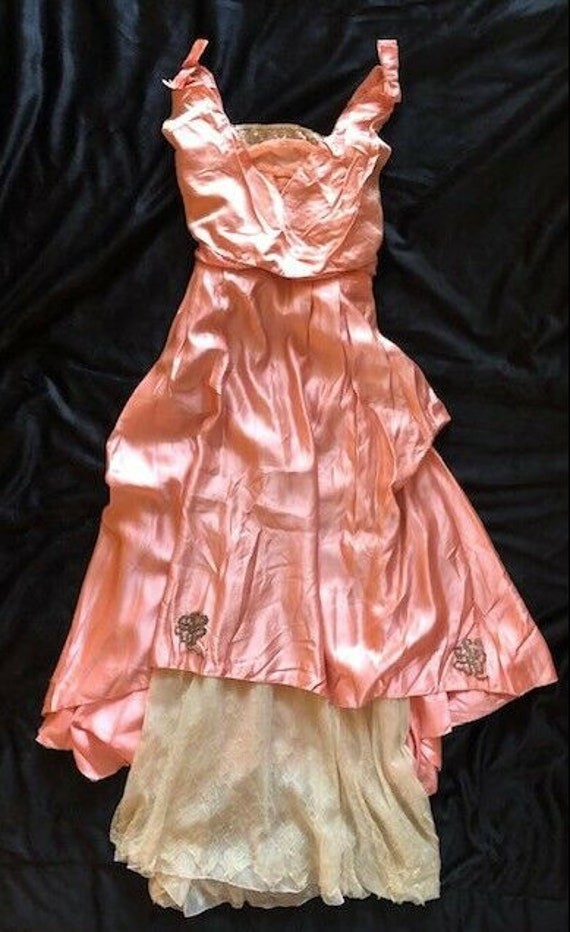 Antique 1910's Edwardian Pink Silk Party Dress