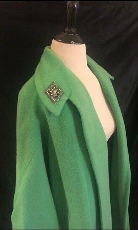 1950's Green Wool Swing Princess Coat