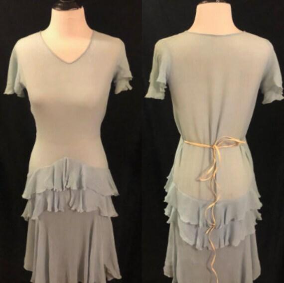 1920's Blue Flapper Dress - image 1