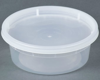 8 oz. Plastic Deli Food Storage Containers with Airtight Lids Perfect for Slimes [35 Sets]