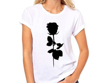 069cf45d36 Black Rose T-Shirt - Summer Wear Shirt - Pajama Sleepwear Clothes - Gift  For Her Clothing - Floral Flowers Stylish Female Printed Clothes