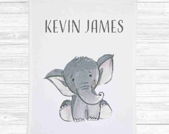 personalized baby blanket, 3011, elephant, baby shower gift, shower gift