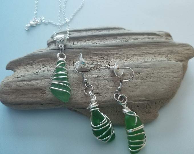 Lake Michigan Beach Glass Jewelry Set