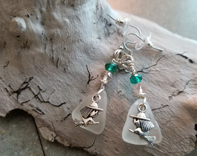 Lake Michigan Beach Glass Halloween Earrings