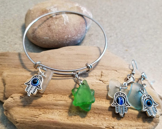 Lake Michigan Beach Glass Inspirational Jewelry Set