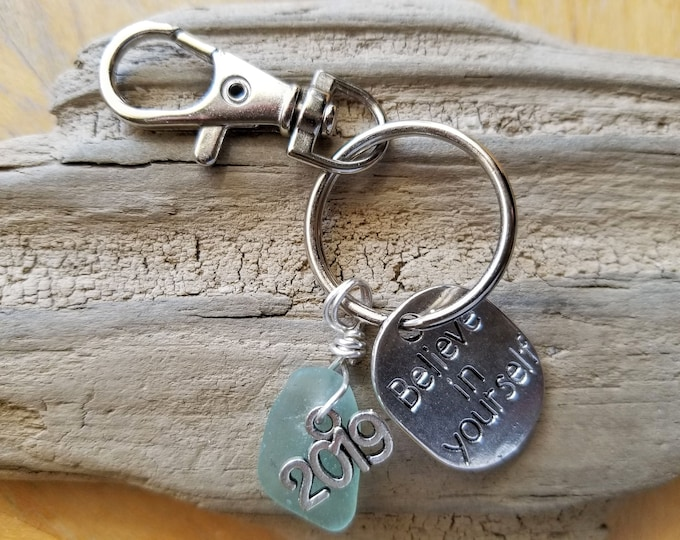 Lake Michigan Beach Glass Keychain