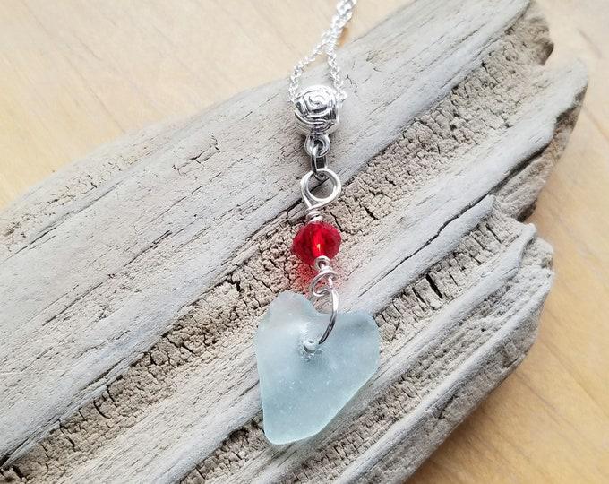 Beach Glass Heart Necklace