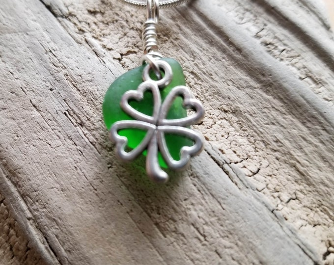 Lake Michigan Beach Glass Clover Necklace
