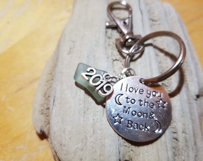 Beach Glass Graduation Keychain