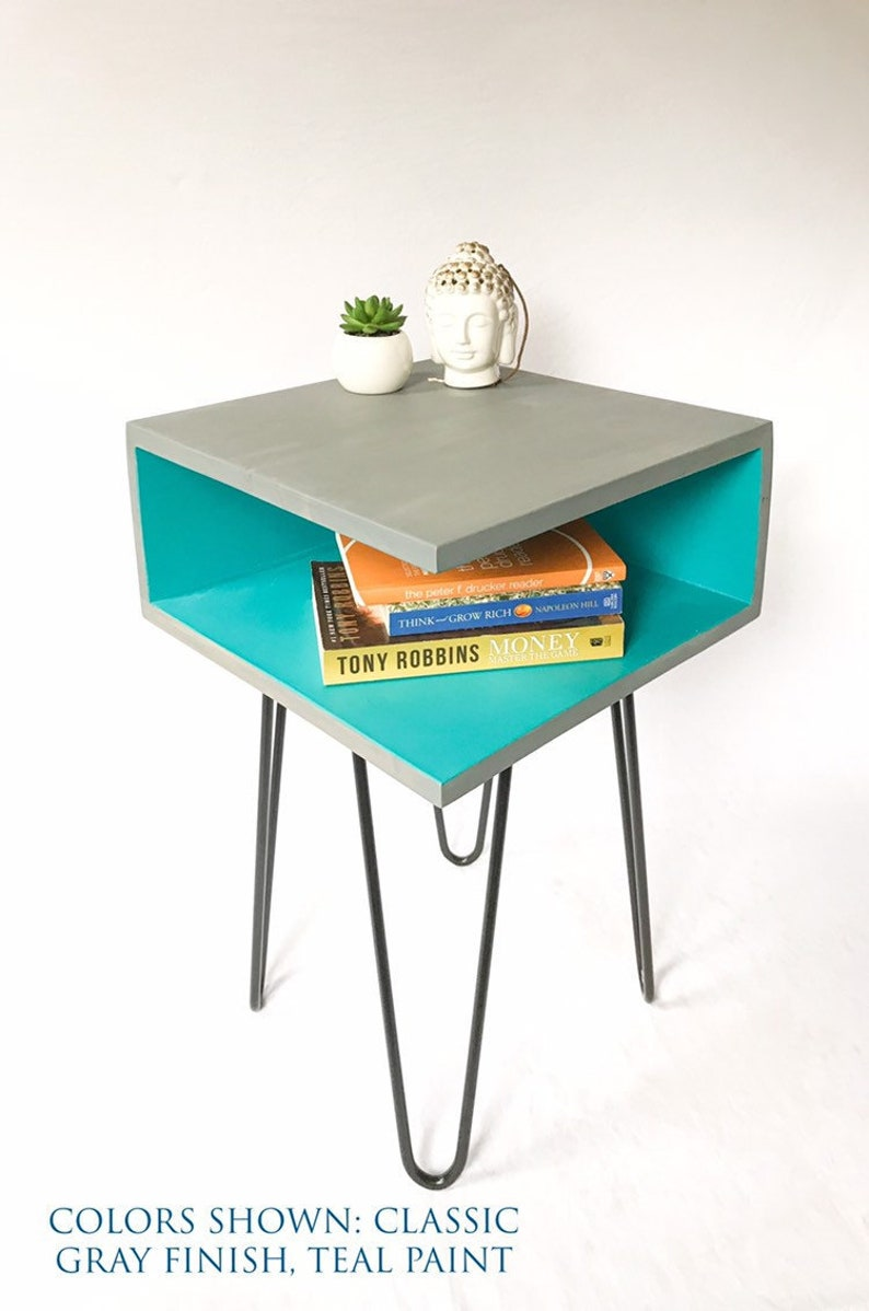 Handmade Industrial Bed Side Table Nightstand Mid Century Modern Design Teal Hairpin Leg End Tables Night Stand Bedside Nightstands