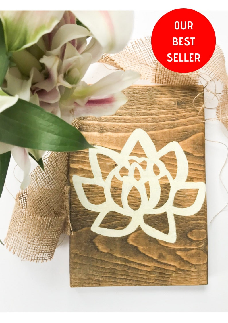 Rustic Wooden Lotus Wall Art Lotus Flower Buddha Decor Wall Etsy
