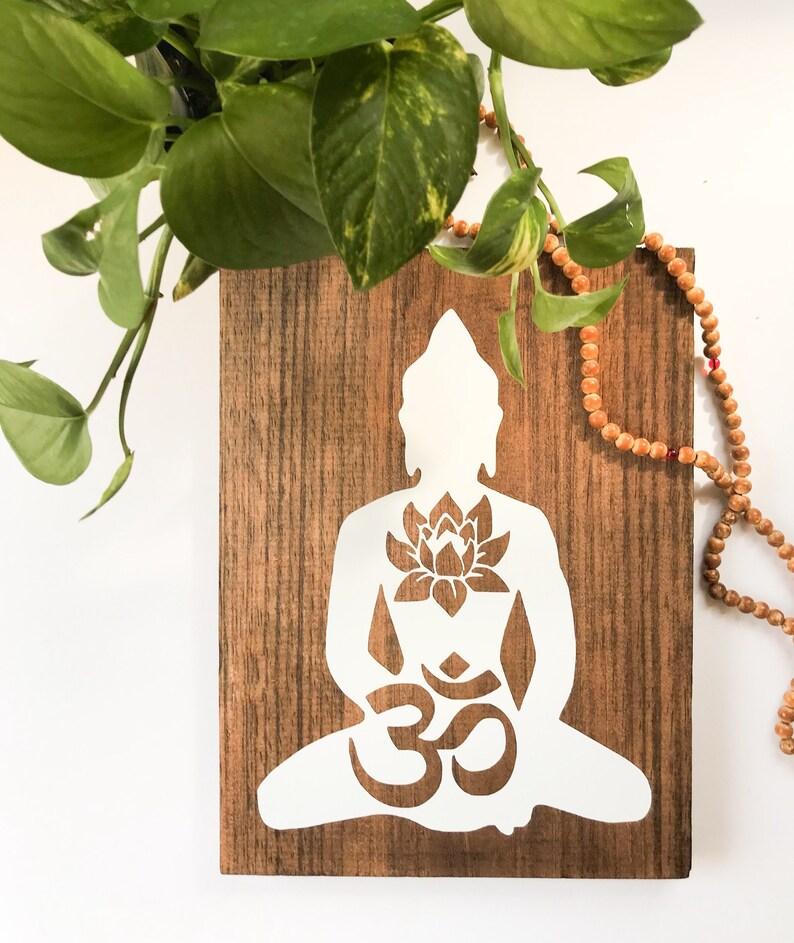 The Buddha Wood Wall Art Ohm Om Symbol Lotus Flower Painting Etsy