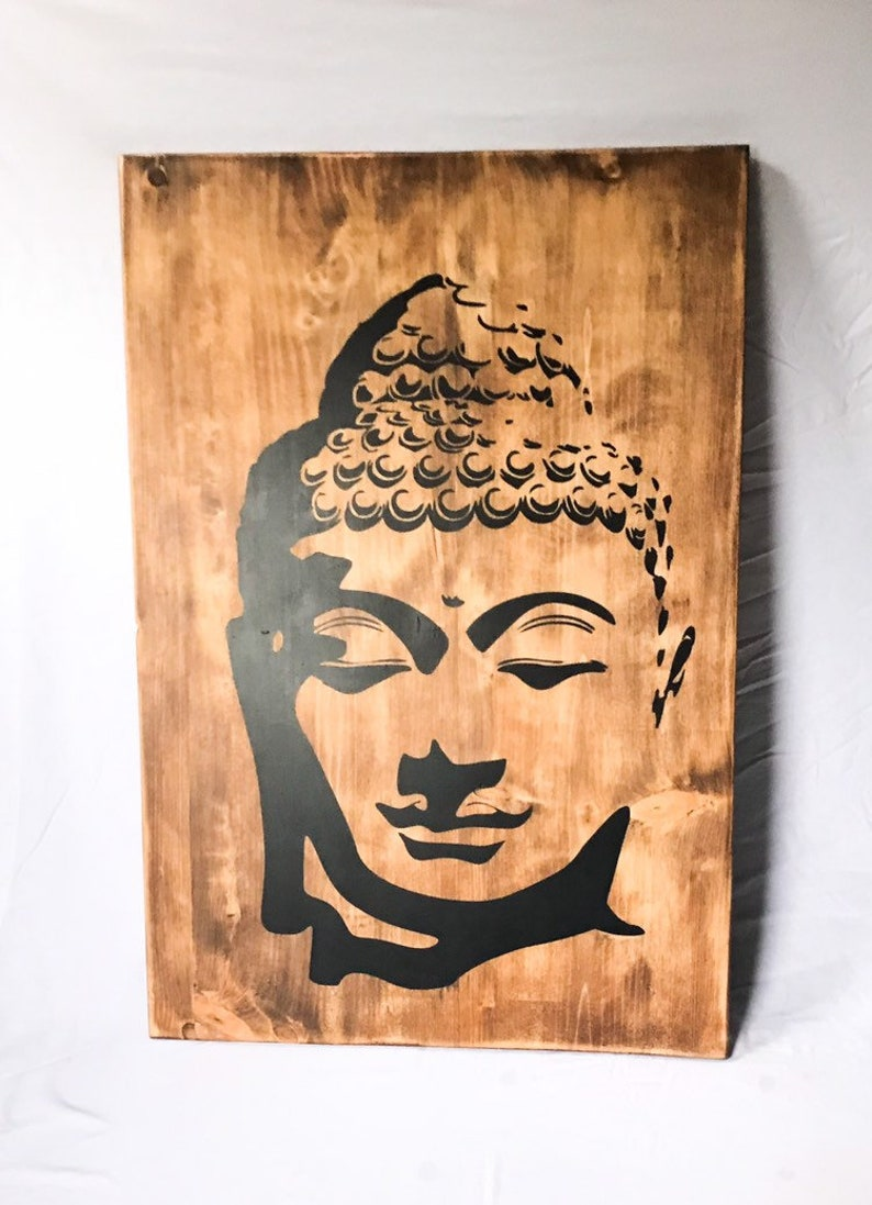 Rustic Wood Buddha Wall Art Wooden Buddha Face Home Decor Meditation Buddhism Symbol Yoga Artwork Zen Spiritual Hindu Peace