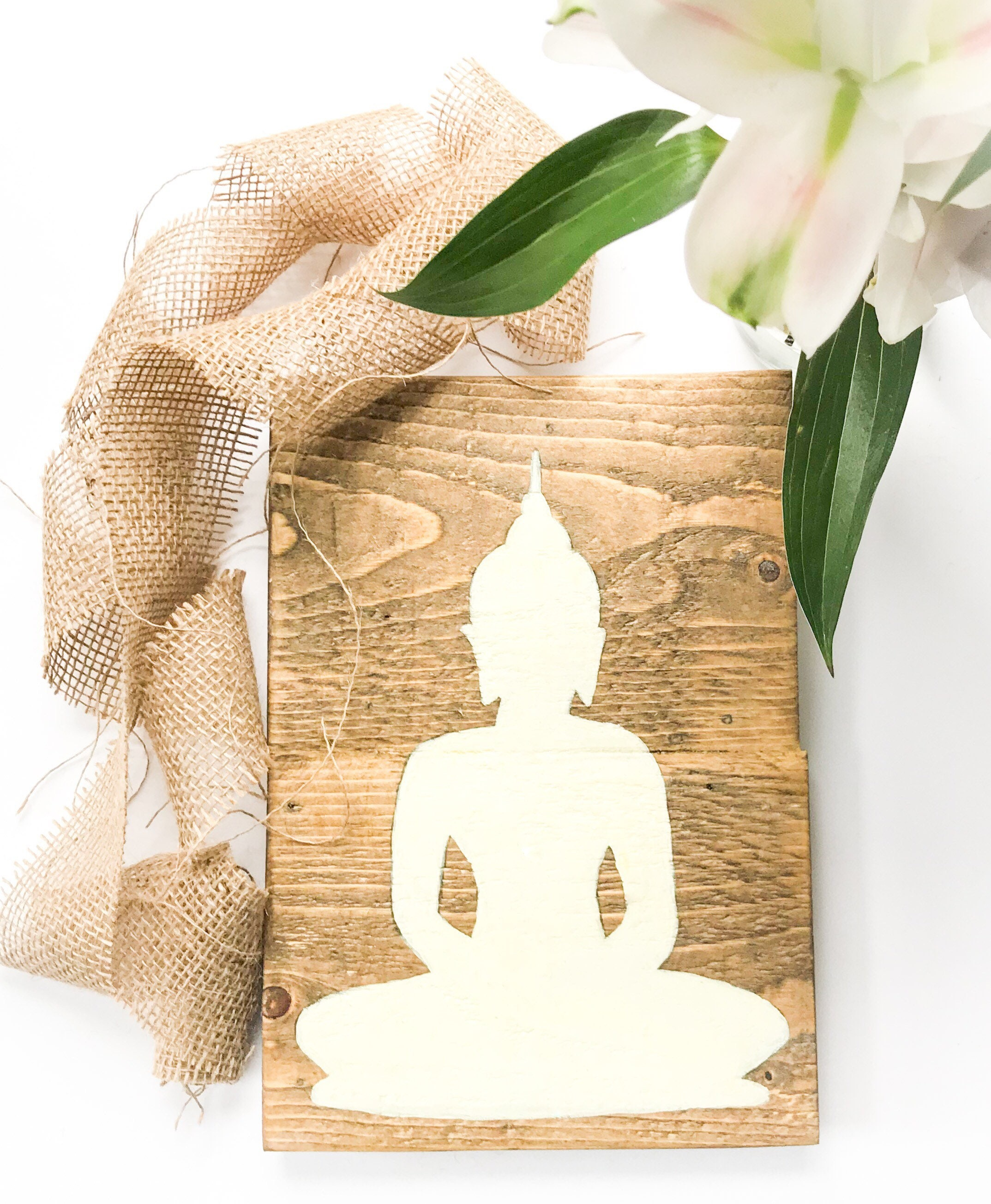 Rustic Buddha wall decor meditation sign Handmade Buddha wood | Etsy