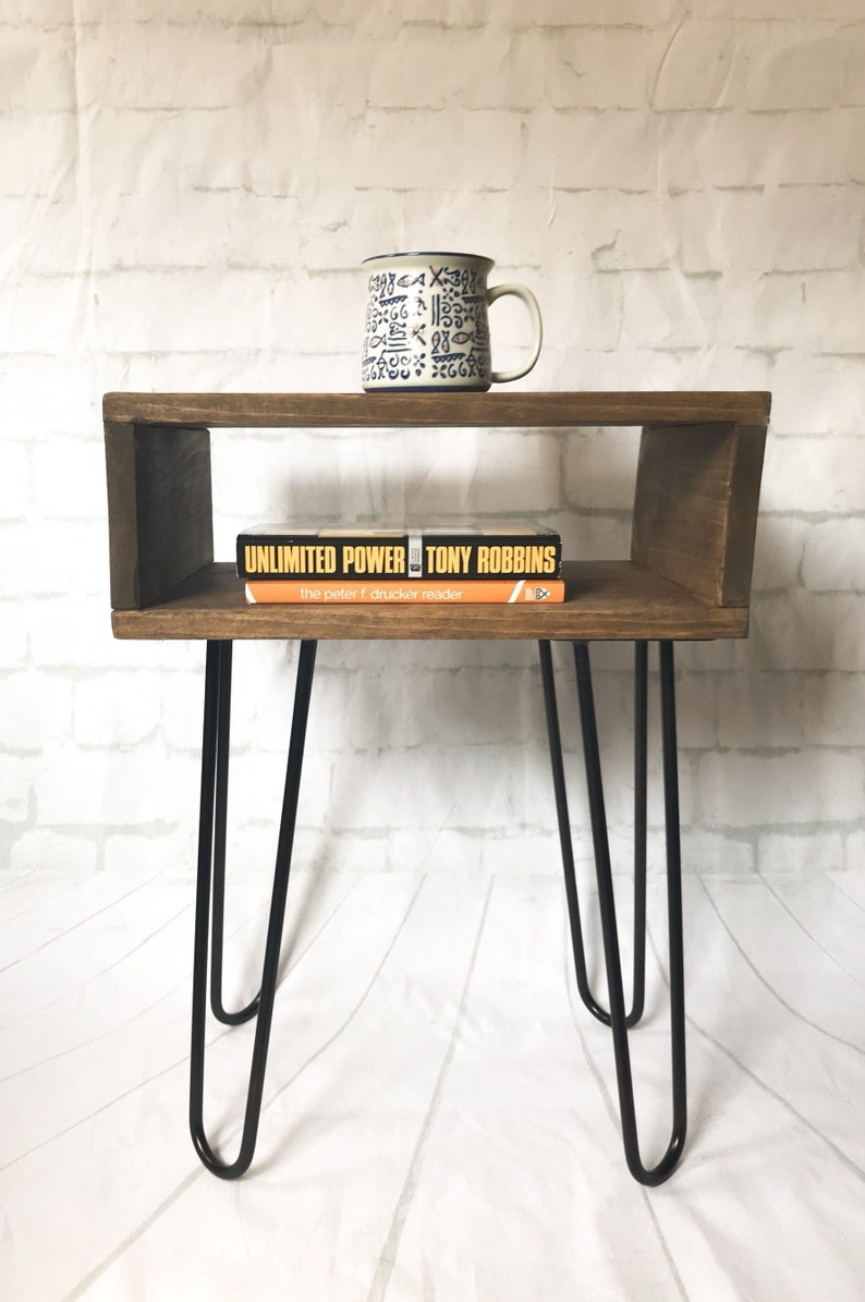 Contemporary Industrial Nightstand End Table Bed Side Table With Hairpin Legs Small Midcentury Modern Scandinavian Minimalist Design