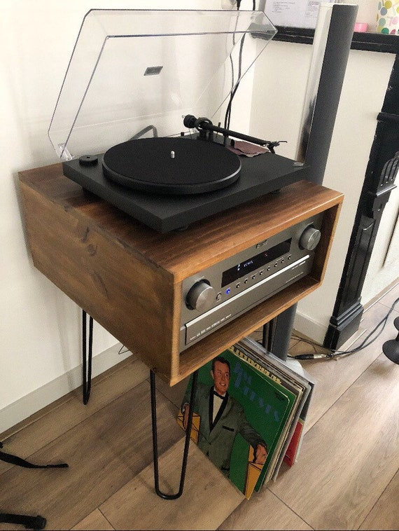 Charmant Record Player Stand Table, Vinyl LP Storage, Mid Century Modern Media Unit,  Turntable Stands, Industrial Hairpin, Unique Fathers Day Gifts