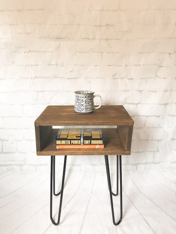 Handmade Mid Century Bed Side Table Nightstand Bedside Small End Tables Modern Industrial Hairpin Night Stand Turntable Vinyl Record
