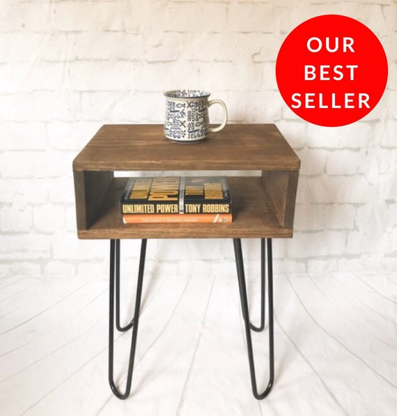 Handmade Real Wood Nightstand   Bed Side Table, Mid Century Modern U0026  Industrial Hairpin Leg End Tables, Small Nightstands, Record Console