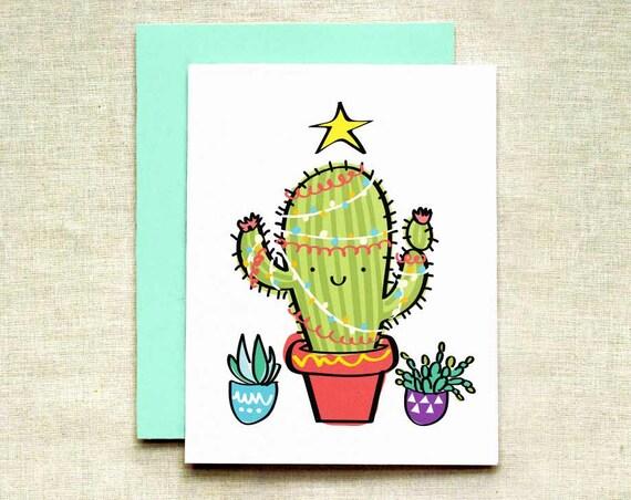 Cactus Christmas Tree.Cactus Christmas Tree Card Individual Bulk Card Sets Succulent Christmas Card California Christmas Card